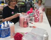 Making gift bags for MD Anderson